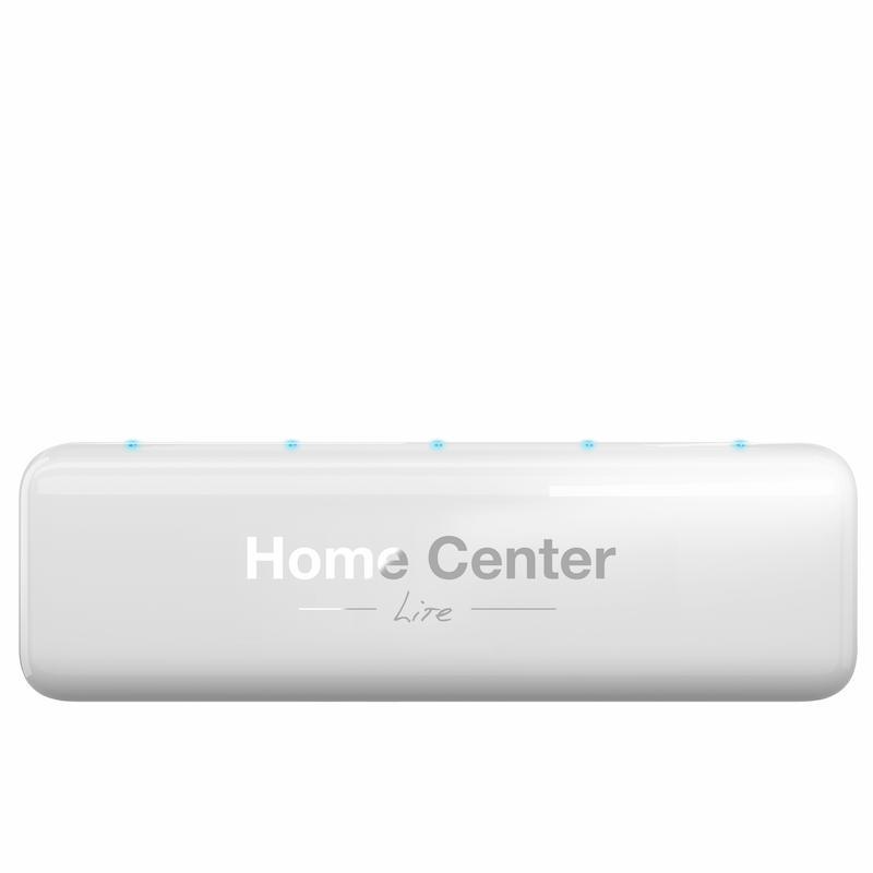 Mała centrala automatyki Fibaro Home Center LITE. Biała, plastikowa obudowa, z pięcioma świecącymi diodami.